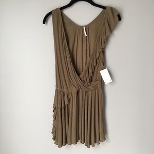 NWT! Free People Brass Surplice Ruffle Front Top
